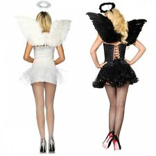 Angel Kit Black or White Wings & Halo Adult Teen Junior Halloween Costume Acsry