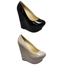 WOMENS LADIES BLACK PATENT NUDE PATENT WEDGE EVENING DAY COURT SHOES ALL SIZES