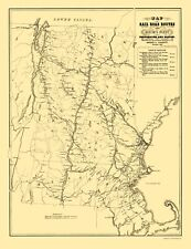 PORTSMOUTH & BOSTON RAILROAD ROUTES (VT/NH/MA) BY PARROTT 1848