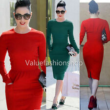 Women Cotton Celeb Vintage Shift Sheath Wear to Work Party Pencil Midi Dress 327