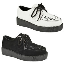 WOMENS LADIES FLAT PLATFORM WEDGE LACE UP GOTH PUNK CREEPERS SHOES BOOTS SIZE UK