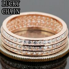 MEN`S LADIES 925 STERLING SILVER ICED OUT LAB DIAMOND ROSE GOLD RING/N8