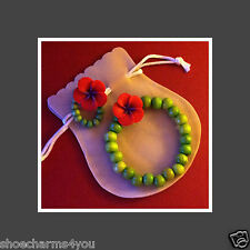 POPPY BROOCH - OR- BRACELET - RED - STRETCH - GREEN WOOD BEADS - REMEMBRANCE -