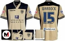 *13 / 14 - MACRON ; LEEDS UTD AWAY SHIRT SS + ARM PATCHES / WARNOCK 15 = SIZE*