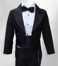 Baby & Boys Tuxedo Tail Suit in Black 5 PCS Christening Wedding Pageboy Dinner