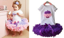 2pcs Girl Kids Baby Cake T-shirt Top+Skirt Tutu Pageant Dress Outfit Clothes Set