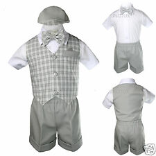Baby Boy Infant Toddler Formal Party Lt. Grey Gingham Shorts Vest Suit S-XL 2-4T