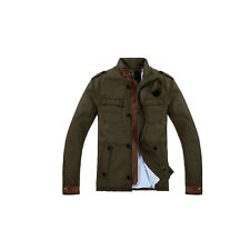 New Men's Casual Cotton Blazer Jacket Slim Fit Parka Piped Coat Outwear Overcoat