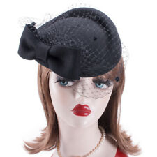 A082 Bow Veil Womens Fascinator Felt Wool Cocktail Pillbox Hat Derby Wedding