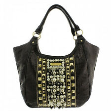 NEW Nicole Lee Blk Jemma Pearl Beaded Satchel Bag~Stunning Purse-Edgy Yet Classy