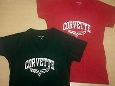 LADIES WOMENS GIRLS CORVETTE C6 LOGO TSHIRT RED BLACK BUDS CHEVROLET ST MARYS OH