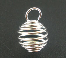 Wholesale Mixed Lots Silver Plated Spring Bead Cages Pendants 8x9mm