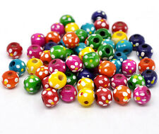 Wholesale Lots Mixed Dyed Dot Round Wood Spacer Beads 10x9mm