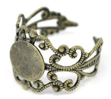 Wholesale Lots Bronze Tone Adjustable Filigree Rings 18.3mm