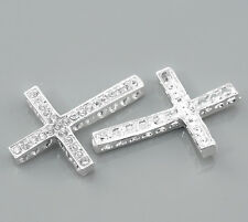 Wholesale Lots Silver Plated Clear Rhinestone Cross Connectors 36x25mm