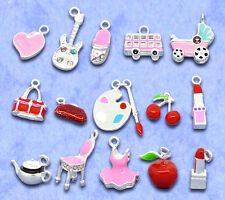 Wholesale Lots Mixed Silver Plated Enamel Charm Pendants