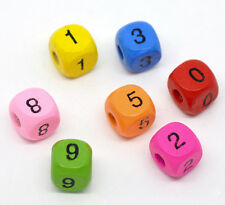 Wholesale Lots Mixed Multicolor Numbers Cube Wood Beads 10x9mm
