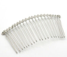 "Wholesale Lots Silver Tone Comb Shape Hair Clips DIY 7.8x3.8cm(3-1/8""x1-1/2"")"