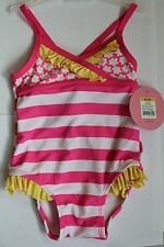Circo baby girl one piece swimsuit 6mo 12 mo pink white yellow stripes flowers