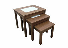 Nest of Tables - Beech or Walnut Wood & Milky Glass