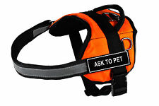 DT Works Orange Dog Harness Velcro Patches ASK TO PET