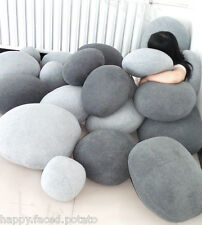 6 PACK Pebble Stone Pillows - Beige or grey Rock bean bag cushion lounge sack