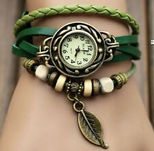 7-Color Quartz Fashion Weave WRAP Around Leather Bracelet Lady Woman Wrist Watch