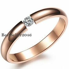Rose Gold Tone Stainless Steel CZ Promise Engagement Ring Womens Wedding Band