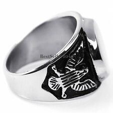 Punk Rock Black Silver Stainless Steel Mens Bald Flying Eagle Signet Ring