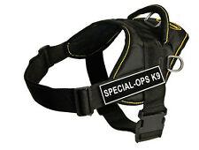 DT Fun Dog Harness in Yellow Trim with Removable Velcro Patch