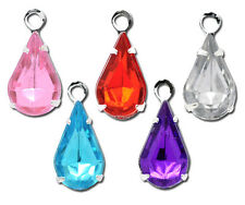 Wholesale Lots Mixed Silver Plated Rhinestone Teardrop Charms Pendants 13x6mm