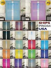 2pc sheer voile panel drape curtain window treatment in over 30 colors 60x84