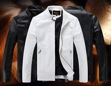 New stand collar menswear short style cultivate one's morality wash PU jacket ls