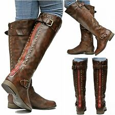 New Womens FL42 Brown Red Zipper Studded Riding Knee High Boots Sz 5.5 to 10