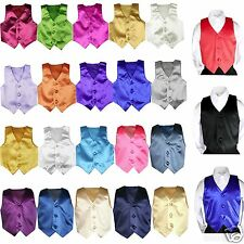 Satin Vest only Baby Toddler Kid Teen Formal Party Boy Suit Tuxedo 23 Color 8-20