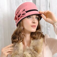 A106 New Winter Women Flower Wool Felt Cloche Hat Wedding Church Party Racing
