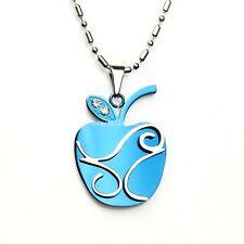Stainless Steel You Are the Apple in My Eyes Apple Pendant Necklace Blue / Black