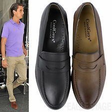 Mens Classic Penny Loafers Slip - Ons Moc Toe Dress Shoes Black Brown