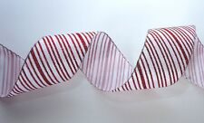 Luxury Christmas Candy Cane Wide Wire-Edged Red/White Glitter Gift Wrap Ribbon