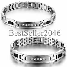 Black Carbon Fiber Magnetic Silver Stainless Steel Couples Link Chain Bracelet