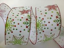 Luxury Christmas Snowflakes Glitter Extra Wide Wire-Edged Wired Ribbon