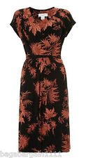 RRP £55 NEW MONSOON BLACK TERRACOTTA FLORAL WRAP STYLE VINTAGE 50S PARTY DRESS