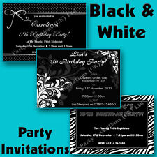 Personalised BLACK & WHITE THEMED Birthday/Hen Party Invitations