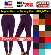 Women Fleece Brush Lined Winter Thermal Footless Leggings Tights ONE SIZE