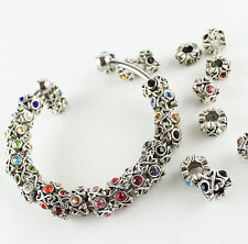 Charming Beads Zinc Alloy Colorful European Crystal Crown Unique Style Charms