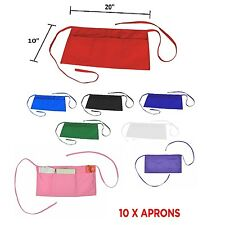 10 Waist Aprons Commercial Restaurant Home Bib Poly Cotton Kitchen (3 Pockets)
