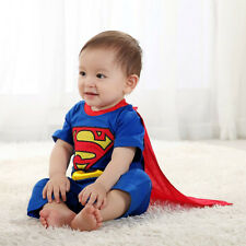 0-24M Superman Super Hero Baby Boy Infants Romper With Cloak Outfit Bodysuit New