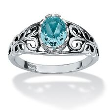 Oval Cut Birthstone Sterling Silver Ring- December- Simulated Blue Topaz