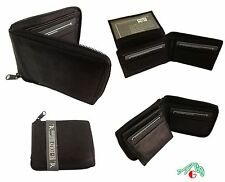 MENS WALLET ZIPPER SAFE PULL UP FLAP GENUINE LEATHER BLACK $6.99 Free Shipping