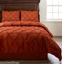 Emerson BURNT ORANGE 4Pc Pinched Pleat Comforter Set - Full Queen King Cal-King